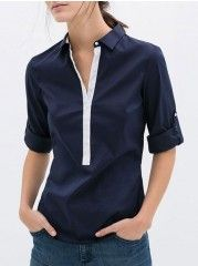 Small Lapel  Assorted Colors Blouses