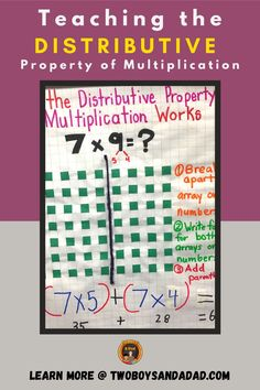 When you're third graders are starting to learn about the Distributive Property of Multiplication, is it rough going? It's a difficult concept to teach as well as learn. But I have found activities and approaches that help conceptual understanding that builds to procedural fluency with this multiplication property. Discover and learn more about the anchor chart we make, the activities we do and more. #twoboysandadad Distributive Property Of Multiplication, Properties Of Multiplication, Multiplication Activities, Math Tips, Math Strategies, Math Resources, Math Teacher, Teaching Math, Standards For Mathematical Practice
