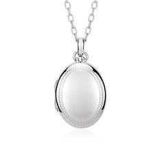 Heirloom Beaded Edge Oval Locket in Sterling Silver