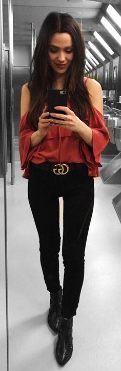 Orange Blouse / Black Skinny Jeans