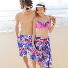 c625158b8a98e Buy Little Dolphin Couple Set  Women Flower Print Bikini + Cover Up Set   Men  Swim Shorts