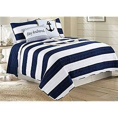 Discover the best beach quilts and nautical quilts at Beachfront Decor. We have a huge variety of coastal quilts with fun beach themes and nautical themes. Nautical Bedroom Furniture, Nautical Bedding Sets, Beach Bedding Sets, Comforter Sets, Bedroom Decor, Bedding Decor, Western Furniture, King Comforter, Bedroom Inspo