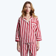 Sleepy Jones tent stripe pajama shirt, $148, available at Sleepy Jones Night Suit, Night Wear, Pijamas Women, Sleepy Jones, British Garden, Holiday Pajamas, Striped Pyjamas, Pajama Shirt, Nightgown