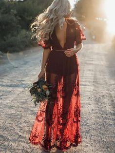 faa13a9e085 Pretty Sexy Lace Solid Color Short Sleeve Deep V Neck Side Split Maxi Dress