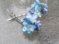 Forget-Me-Not Flower Hair Pins, Tiny Blue Flower Hair Pins, Bridal Bobby Pins, Wedding Hair Pins, Blue Flower Girl Bobby Pins G17 by FairyFlowerDreams on Etsy