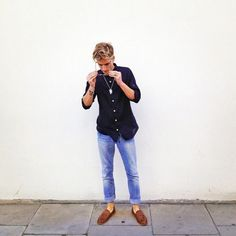 71df1b76bb Oliver Proudlock Theo Fennell Necklace Esemplare Navy Shirt Ksubi Blue  Jeans Bertie s Brown Leather Loafers