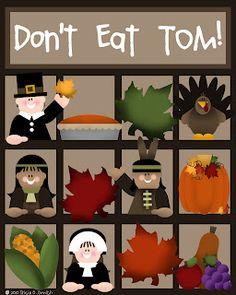 Games of Don't Eat Tom & Thanksgiving Bingo, etc.