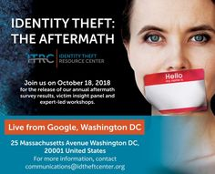 Identity Theft: The Aftermath 2018 - Identity Theft Resource Center Identity Theft, The Victim, Psychology, Psicologia