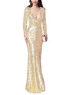 426371cef26a Find LMBRIDAL Women s V Neck Sequin Mermaid Formal Evening Dress Long  Sleeve online. Shop the latest collection of LMBRIDAL Women s V Neck Sequin  Mermaid ...
