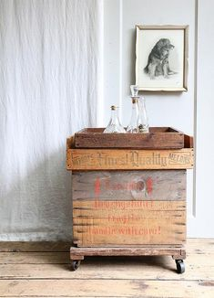 Remodelista-Industrial-bar-carts-vintage-wood-crates-dolly-casters