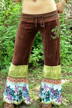 would like to make these or buy at Upcycled Flare Ohm Lovechild Chakra Festival Yoga Pants. $50.00, via Etsy.