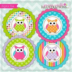 Polka Dot Owl Theme - Printable Party Tags - Cupake Toppers - Printable Party Favors - Owl Party Printables
