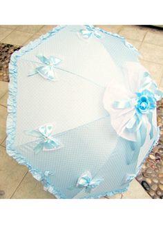 Sky blue lace tassels princess Lolita Umbrella