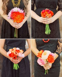 love the fun bright colors of the bouquets against the dark dresses of the bridesmaids