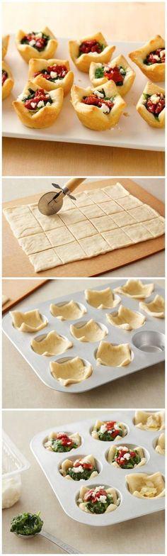 recette rapide et facile de feuilletées salées en coupelles garnies de