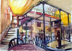 Ian Gordon Craig's beautiful artwork of the Malt Cross Inn in Nottingham Nottingham, Beautiful Artwork, The Locals, Britain, Victorian, Landscape, Street, Drawings, Paintings