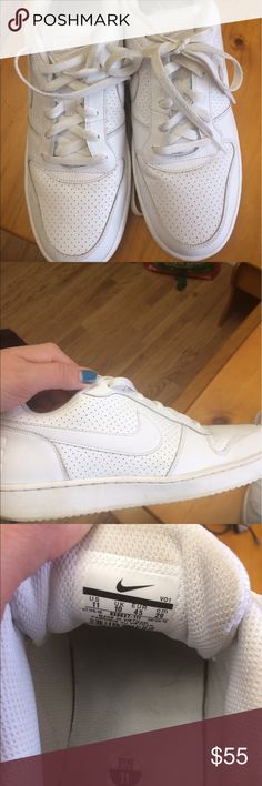 Men's white nikes I'd say like new since my husband only wore once or twice but they do have a few scuffs on the bottom! Nothing that a good clean can't get out! As far as the tops are concerned though they look brand new, even the white laces! Smoke free dog friendly home! Nike Shoes Sneakers