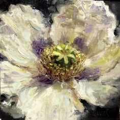 Single Bloom, painting by artist Julie Ford Oliver, 6x6