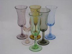 Set of six etched glass cordial or sherry glasses, 4 all in different pretty colors. These are all in very nice condition without damage - I don't think they were ever used, as they still have the original paper labels marked Japan. Cordial, Liqueur Glasses, How To Make Notes, Hurricane Glass, Different Shapes, Colored Glass, Vintage Items, Japan, Antiques