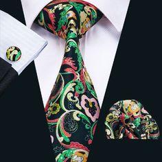 SN-1225 Hot New Floral Prints Mens Tie Hanky Cufflinks Black&Green Silk Neckties