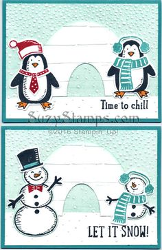 Stampin' Up! Cards - 2016-02 Class - Snow Place stamp set, Snow Friends Framelits Dies and Softly Falling Embossing Folder