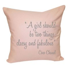 Pink cotton-linen pillow with a Coco Chanel quote.       Product: PillowConstruction Material: Cotton-linen blend cove...