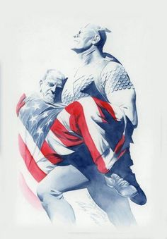 Original Comic Art titled Captain America carrying Jack Kirby by Alex Ross., located in Nick -'s My Eclectic Collection Comic Art Gallery Marvel Comic Universe, Marvel Comics Art, Fun Comics, Marvel Heroes, Marvel Characters, Ms Marvel, Steve Rogers, Captain America Winter, Marvel Captain America