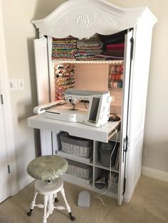 DIY Sewing Cabinet From An Old Media Armoire | Remodelicious.com