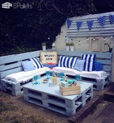 Pallet Garden Nautical Furniture Set And Sign Pallet Garden Nautical Furniture Set And Sign 1001 Pallets The post Pallet Garden Nautical Furniture Set And Sign appeared first on Pallet Ideas. Pallet Garden Furniture, Outdoor Furniture Plans, Pallet Patio, Pallets Garden, Wood Pallets, Outdoor Pallet, Garden Decking Ideas, Pallet Planters, Free Pallets