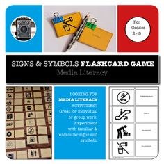 Product description: A fun Media Arts interactive flashcard game to help students experiment with familiar and unfamiliar signs and symbols. There are 48 flashcards and a comprehensive lesson plan for you to teach signs and symbols to students in grades 2 Visual Literacy, Media Literacy, Literacy Skills, High School Classroom, High School Students, Media Studies, Teacher Resources, Teaching