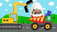 Surprise Dump Truck, Excavator and maybe Dinosaur   Kids Video   Pojazdy...