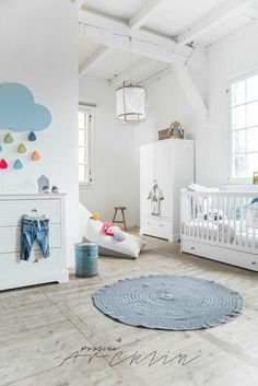 Baby boy nursery ideas - get some baby boy nursery decor inspiration from this collection of images, featuring pastel hues and more! Pastel Nursery, Clouds Nursery, Baby Boy Nursery Decor, Baby Bedroom, Baby Boy Rooms, Baby Boy Nurseries, Baby Room Decor, Nursery Room, White Nursery