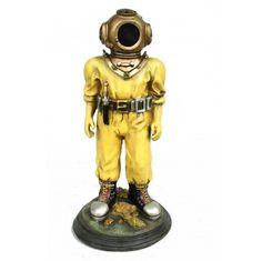 Deep Sea Diver Figurine nautical decor  statue with Mark V Helmet