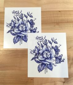 """The Dark Blue Vintage Flowers tattoo set is a unique twist on the classic flower bouquet. This blue flower tattoo is perfect for anyone looking for stunning flower tattoo design. - Tattoo Size 4"""" x 3."""