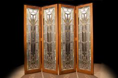 Four Panel Mosaic Glass Screen  Early 20th Century