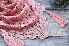"""Купить Бактус """"Рассветные росы"""" - розовый нежный цвет, бактус, мини-шаль, бактус крючком"""