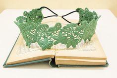 Kelly Green Color Cotton Lace Elastic Headband