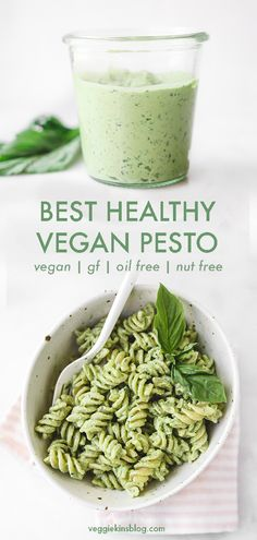 The best-o pesto sauce made with whole food, plant based ingredients like avocad. The best-o pesto sauce made with whole food, plant based ingredients like avocado and tahini. Healthy, vegan, oil free and nut free. 5 ingredients and 2 simple steps. Healthy Fats, Healthy Drinks, Healthy Eating, Healthy Vegan Meals, Whole Foods Vegan, Clean Eating, Vegan Foods, Healthy Weight, Sauce Pesto