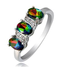 Rainbow Topaz Silver Plated Three Oval Stones Ring Various Size   eBay