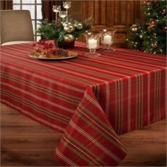 Christmasville Metallic  Plaid Fabric Holiday Tablecloth Holiday Sale
