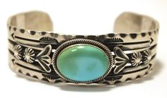 Navajo Turquoise Sterling Silver Cuff Bracelet - Delbert Gordon