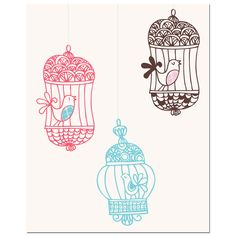 Three Bird Cages Art Print | Overstock.com