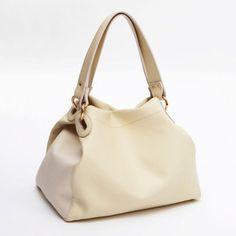 SALE - Nude Beige Cream Leather Satchel Handbag Shoulder Bag - Polyvore
