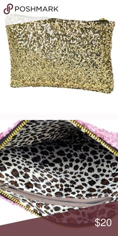 SALEGold Sequin Bag/Clutch 9.84 x 5. 89 inches. Adorable clutch! You can also throw this in your purse to keep it organized. Has a zipper and cheetah prof in the inside. Great Christmas gift! ⭐️Use like button to get price drop notifications! ❤️ ⭐Bundle to save   ⭐️Personalized bundles!  ⭐️ Use the offer button ⭐️Same day shipping ⭐️ Smoke free home  No PayPal   I don't sell on any other apps  No trades Bags Clutches & Wristlets