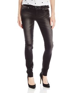 dollhouse Juniors' Five-Pocket Belted Black Skinny Jean with Sandblasting -- This is an Amazon Affiliate link. Click on the image for additional details.