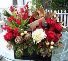 Ilex, tulips, artichokes, kale, magnolia leaves, & roses