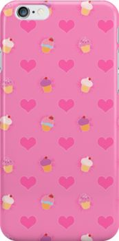 Pink Cupcake Pattern Iphone Case #pink #cupcakes #food #hearts #cute