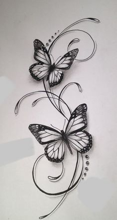 Butterfly Tattoos For Women, Butterfly Tattoo Designs, Butterfly With Flowers Tattoo, Tribal Butterfly Tattoo, Leg Tattoos, Flower Tattoos, I Tattoo, Elfen Tattoo, Tattoo Papillon