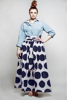 JIBRI High Waist Polka Dot Belted Maxi Skirt (Navy/White)