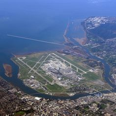 YVR, Vancouver airport on Sea Island, Richmond by Evan Leeson, Canada Vancouver Bc Canada, Vancouver Island, Richmond Vancouver, Montreal Canada, West Coast Canada, Trains, Airport Design, Aerial View, Lakes